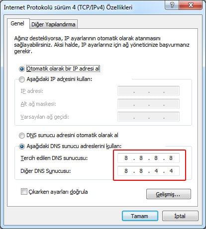 dns ayarlari degistirme internet protokolu surum 4 - Dns Değiştirme - Vpn Değiştirme