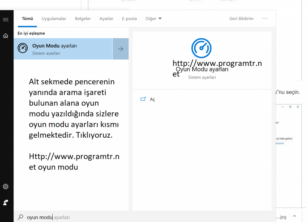 Windows 10 oyun modu